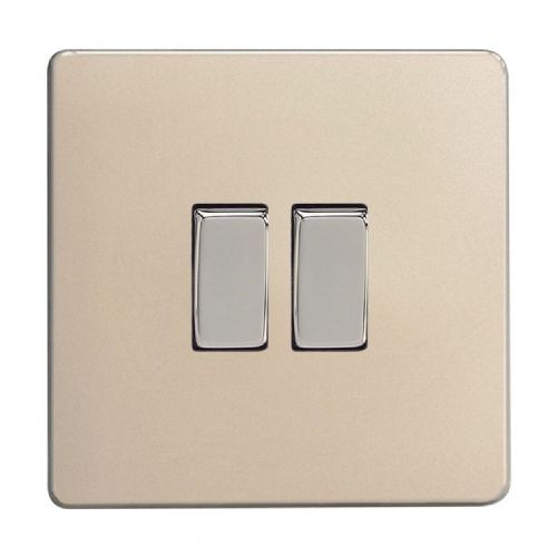 Varilight XDN2S Screwless Satin Chrome 2 Gang 10A 1 or 2 Way Rocker Light Switch